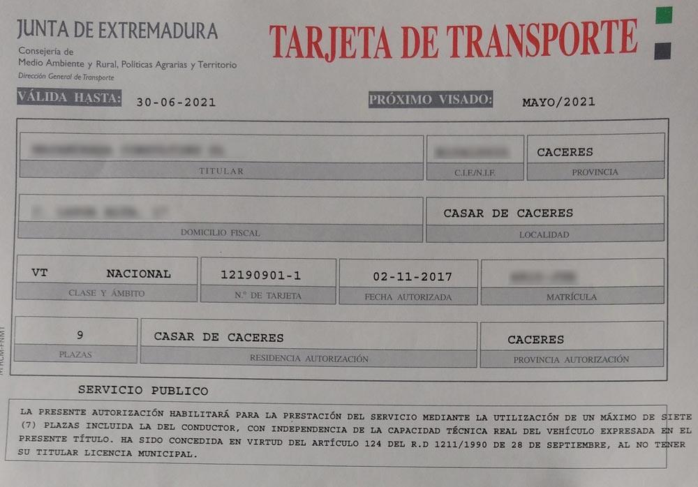 Tarjeta de Transporte - Licencia